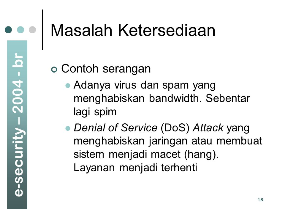 Masalah Ketersediaan Contoh serangan