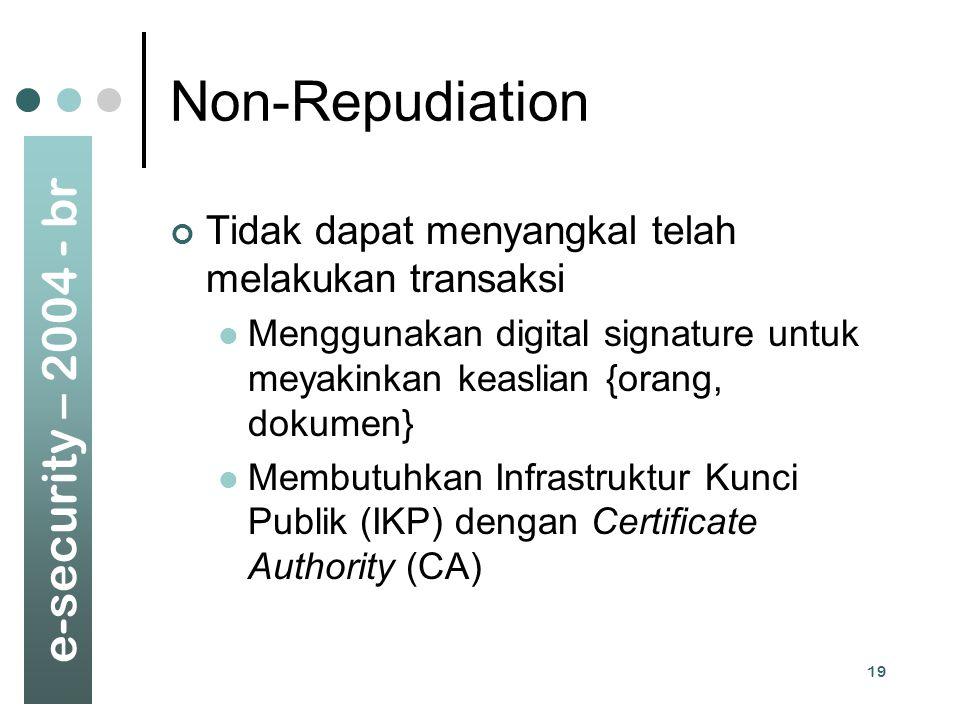 Non-Repudiation Tidak dapat menyangkal telah melakukan transaksi