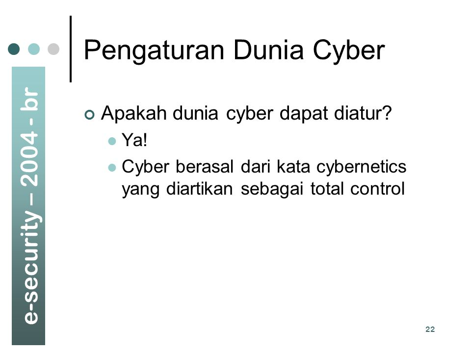 Pengaturan Dunia Cyber