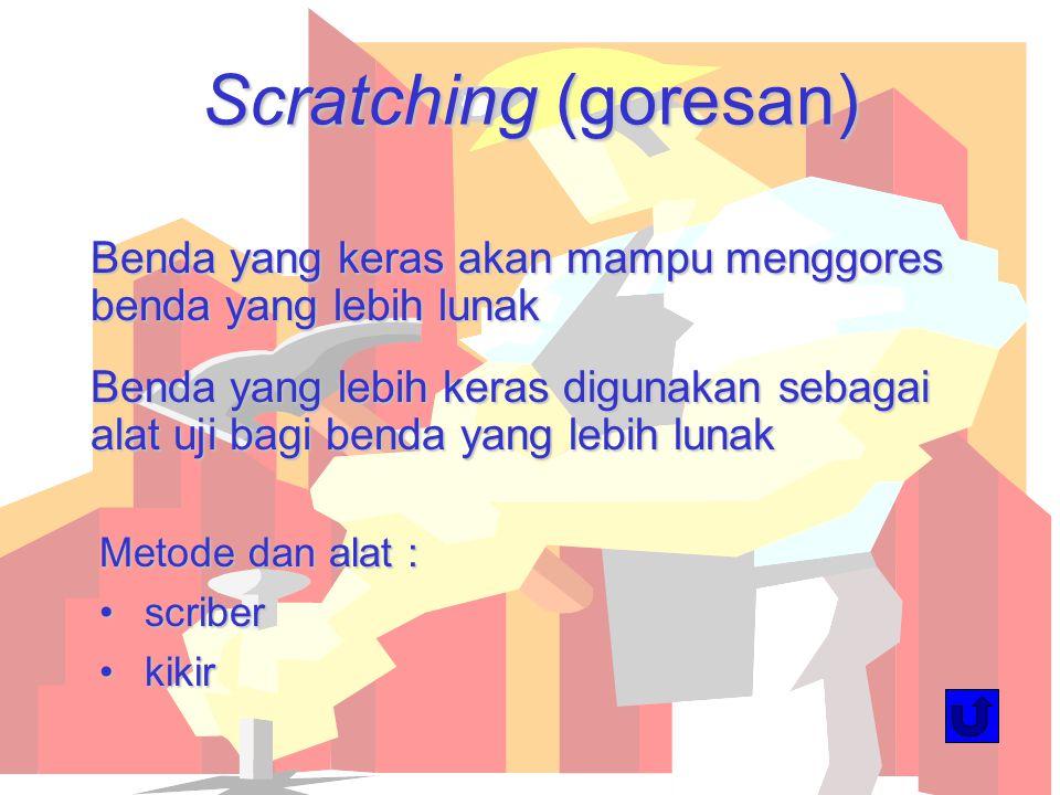 Scratching (goresan) Benda yang keras akan mampu menggores benda yang lebih lunak.