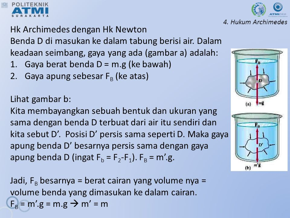 Hk Archimedes dengan Hk Newton