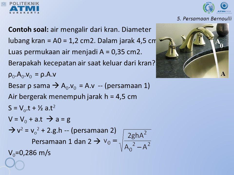 Contoh soal: air mengalir dari kran. Diameter
