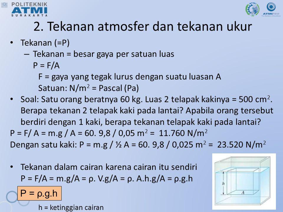 2. Tekanan atmosfer dan tekanan ukur