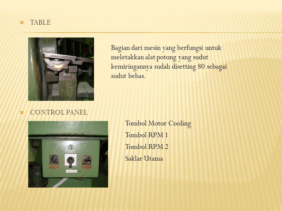 TABLE CONTROL PANEL. Bagian dari mesin yang berfungsi untuk meletakkan alat potong yang sudut kemiringannya sudah disetting 80 sebagai sudut bebas.
