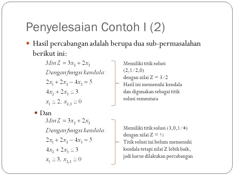 Penyelesaian Contoh I (2)