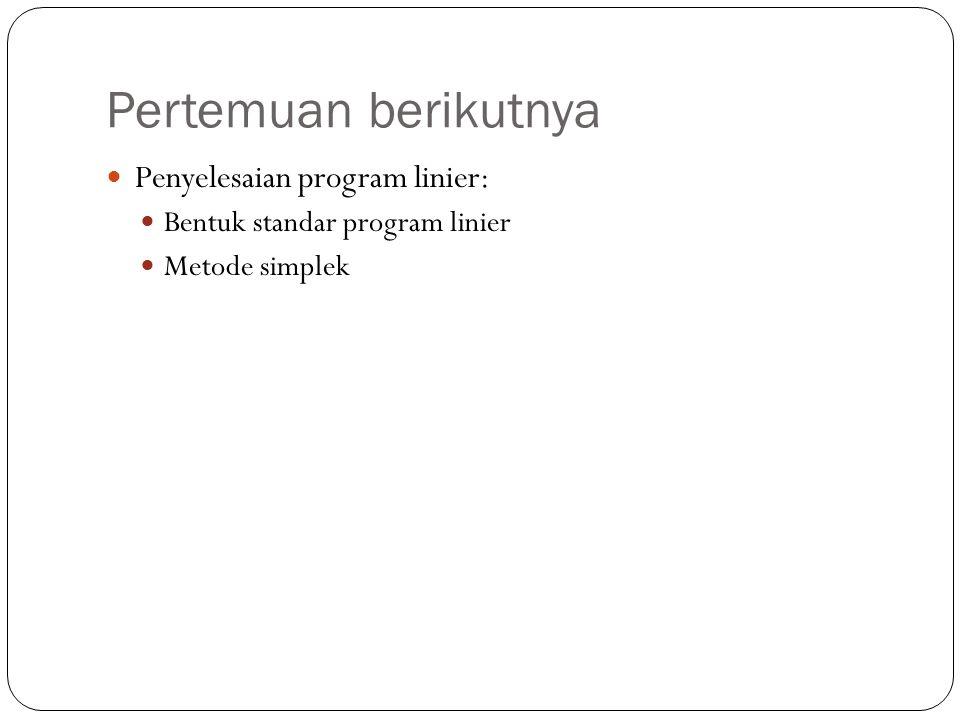 Pertemuan berikutnya Penyelesaian program linier:
