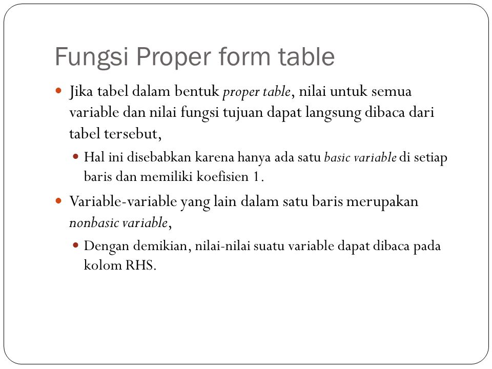 Fungsi Proper form table