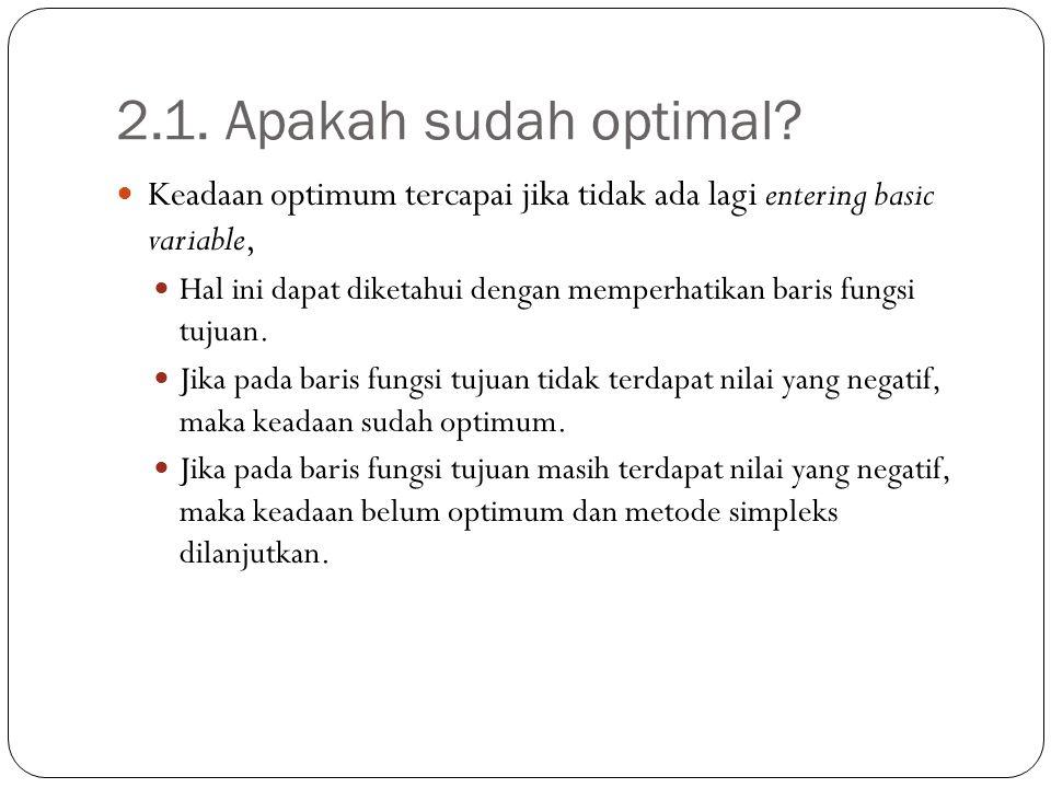 2.1. Apakah sudah optimal Keadaan optimum tercapai jika tidak ada lagi entering basic variable,