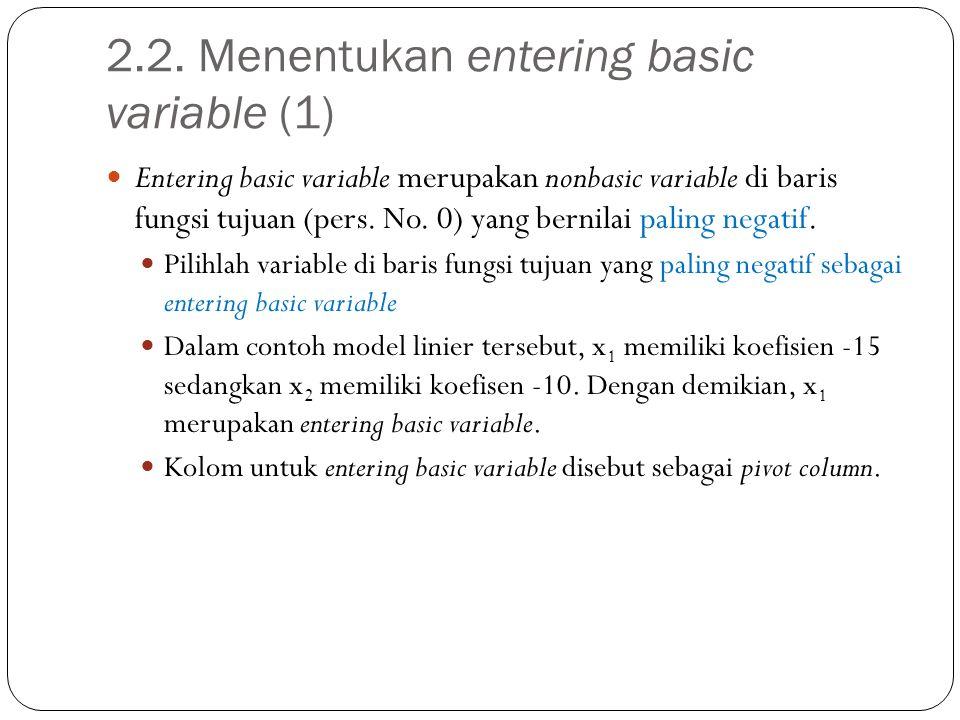 2.2. Menentukan entering basic variable (1)