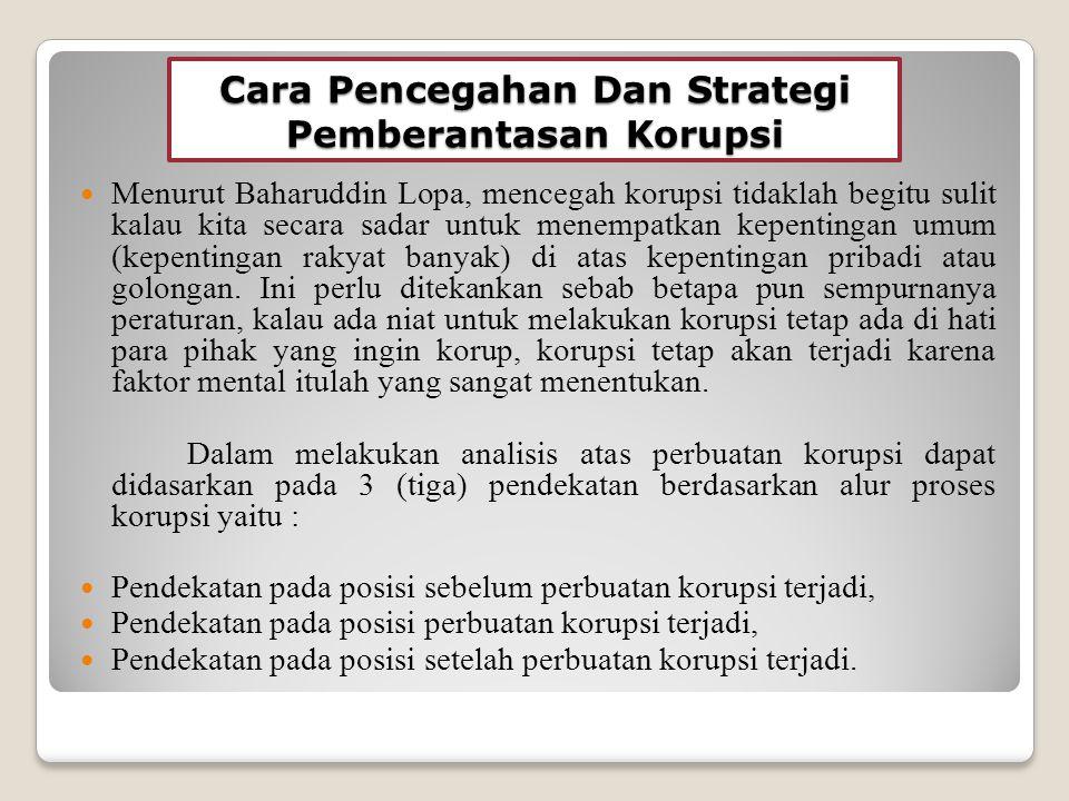 Cara Pencegahan Dan Strategi Pemberantasan Korupsi
