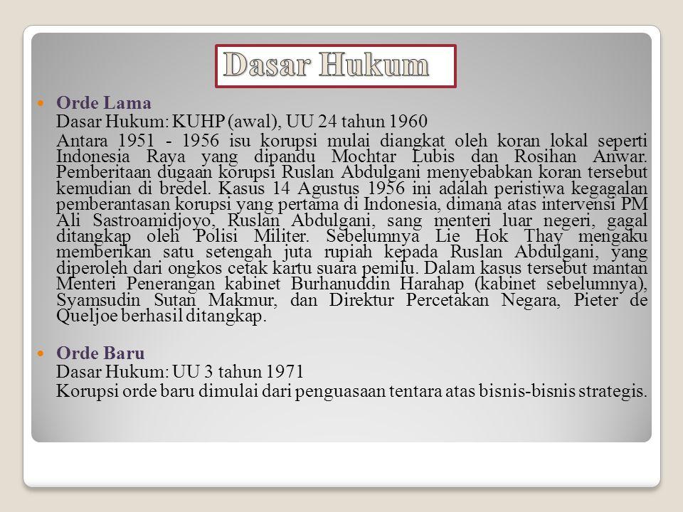 Dasar Hukum Orde Lama Dasar Hukum: KUHP (awal), UU 24 tahun 1960