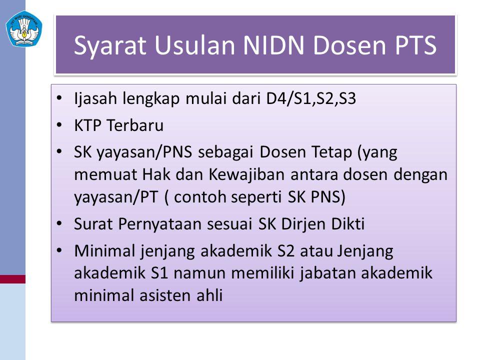 Syarat Usulan NIDN Dosen PTS