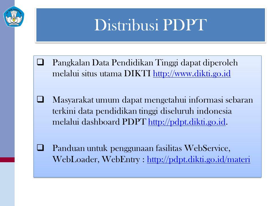 Distribusi PDPT Pangkalan Data Pendidikan Tinggi dapat diperoleh melalui situs utama DIKTI http://www.dikti.go.id.