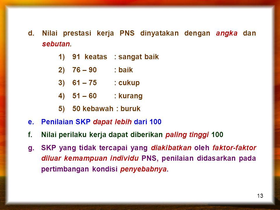 Nilai prestasi kerja PNS dinyatakan dengan angka dan sebutan.