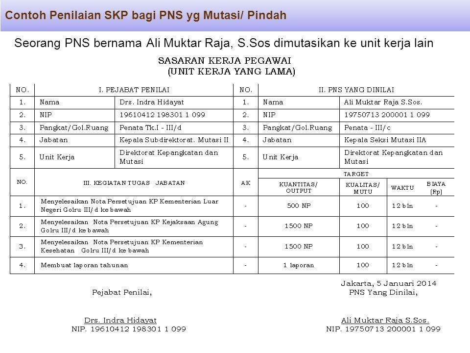 Contoh Penilaian SKP bagi PNS yg Mutasi/ Pindah