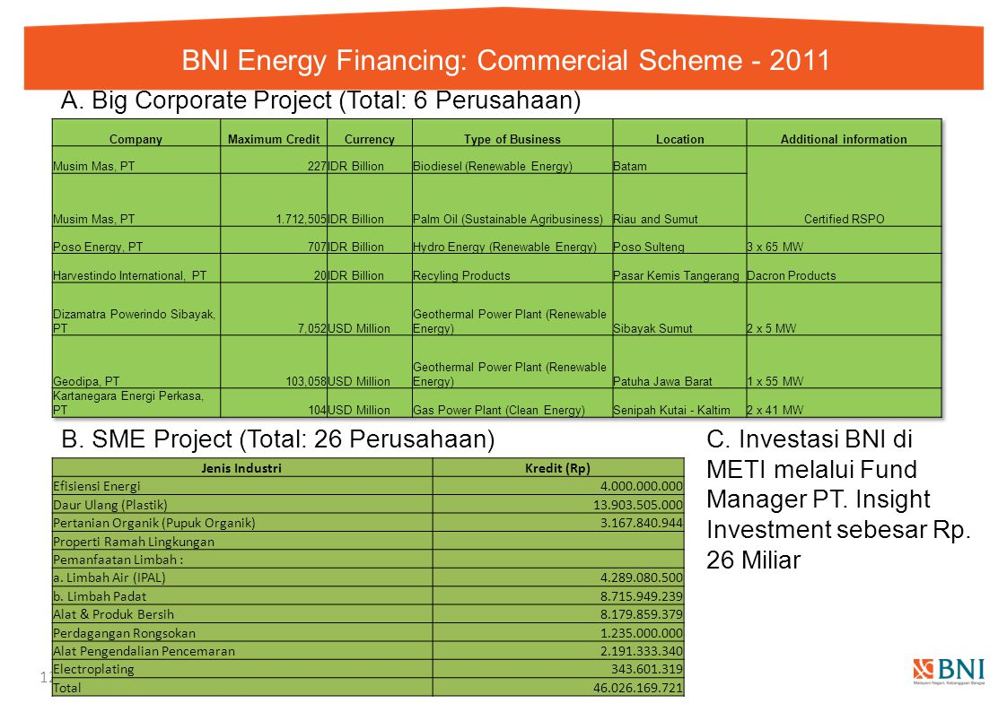 BNI Energy Financing: Commercial Scheme - 2011