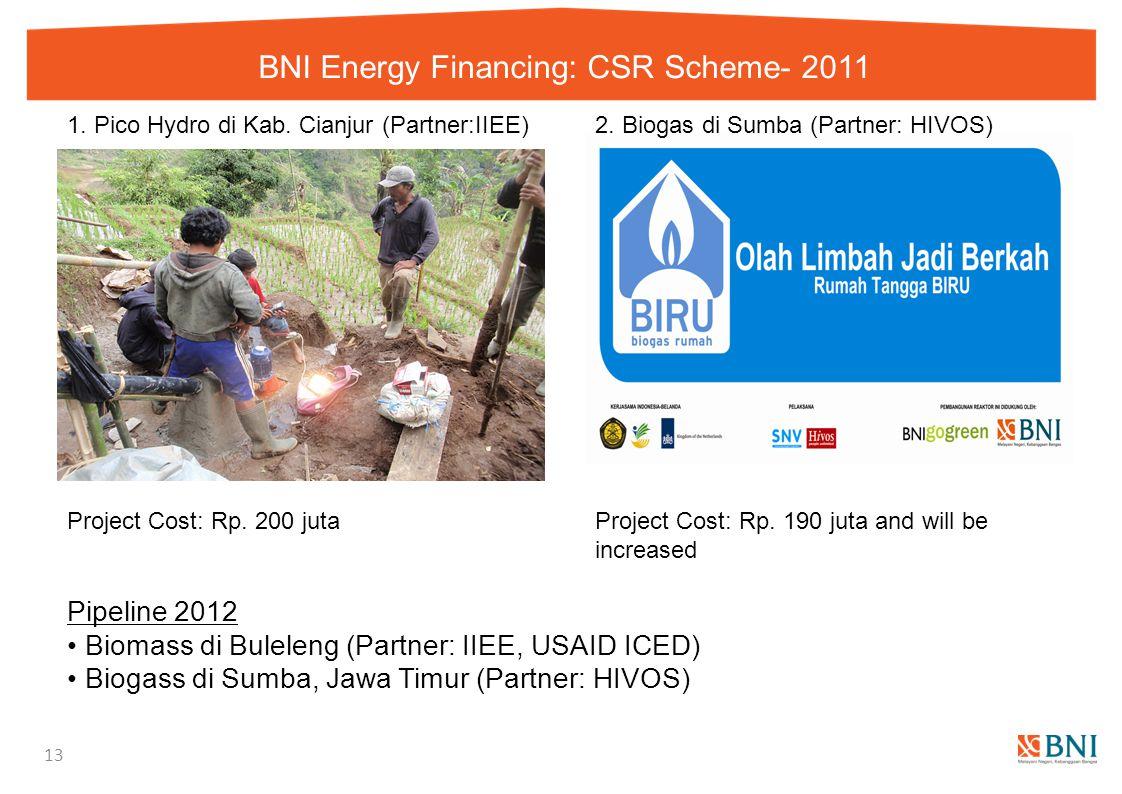 BNI Energy Financing: CSR Scheme- 2011