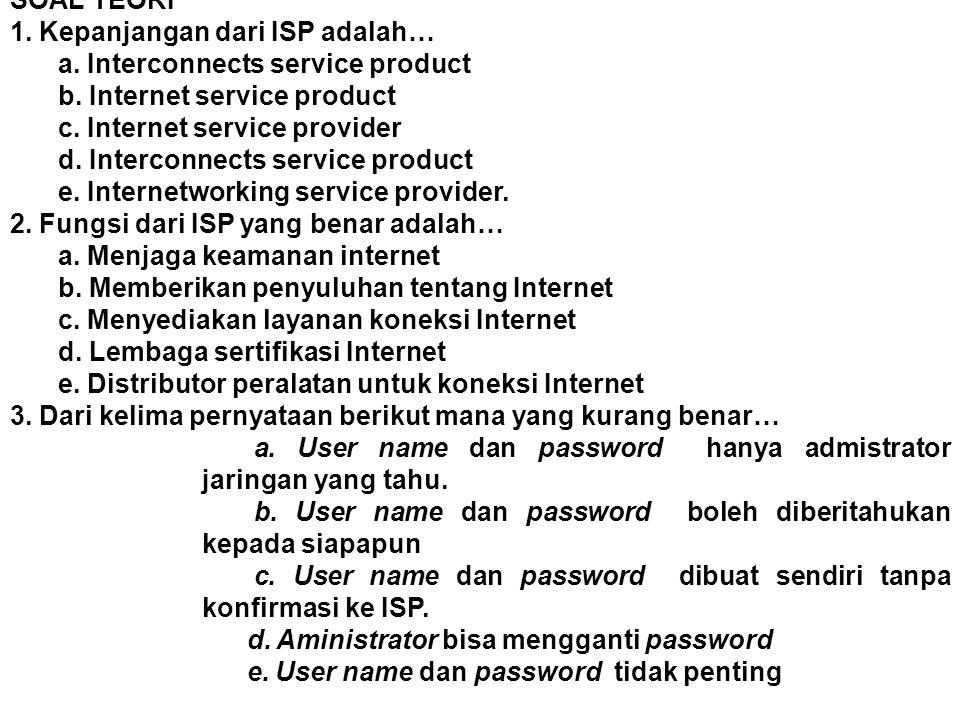 SOAL TEORI 1. Kepanjangan dari ISP adalah… a. Interconnects service product. b. Internet service product.