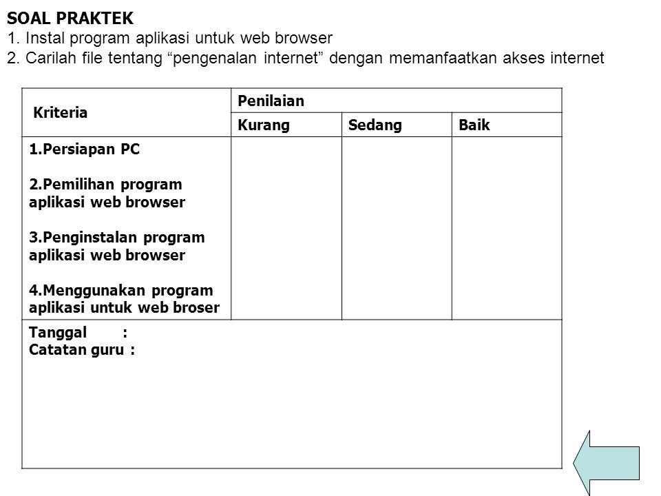 1. Instal program aplikasi untuk web browser