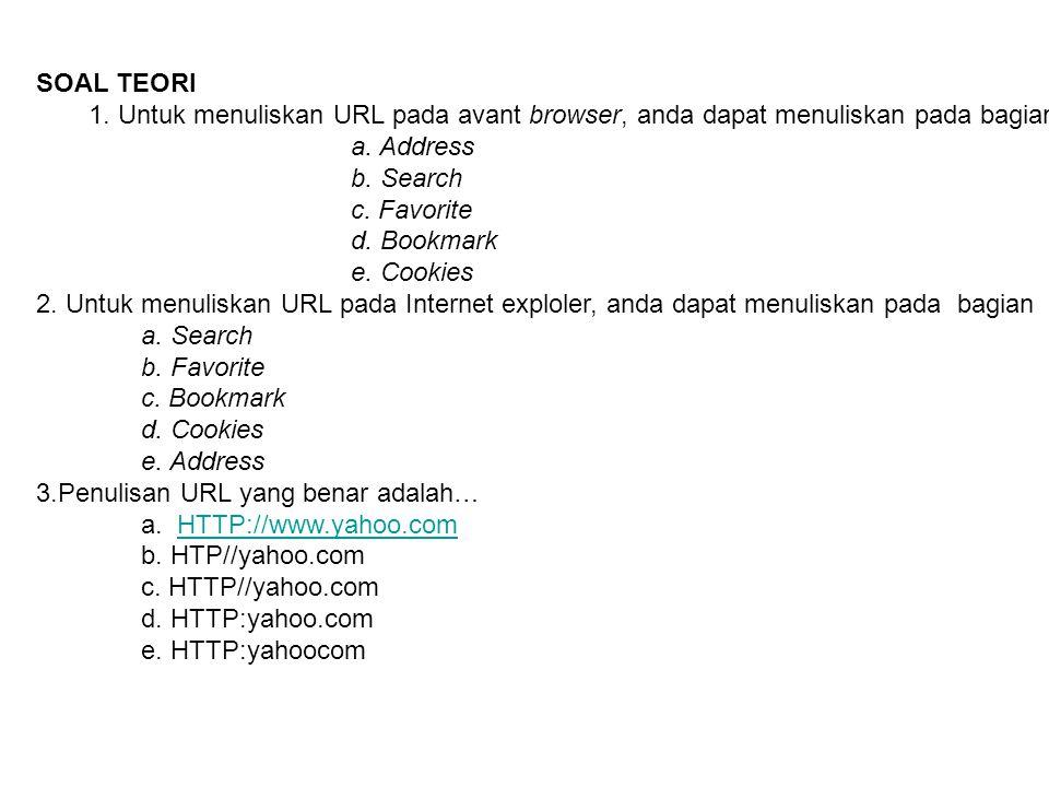 SOAL TEORI 1. Untuk menuliskan URL pada avant browser, anda dapat menuliskan pada bagian… a. Address.