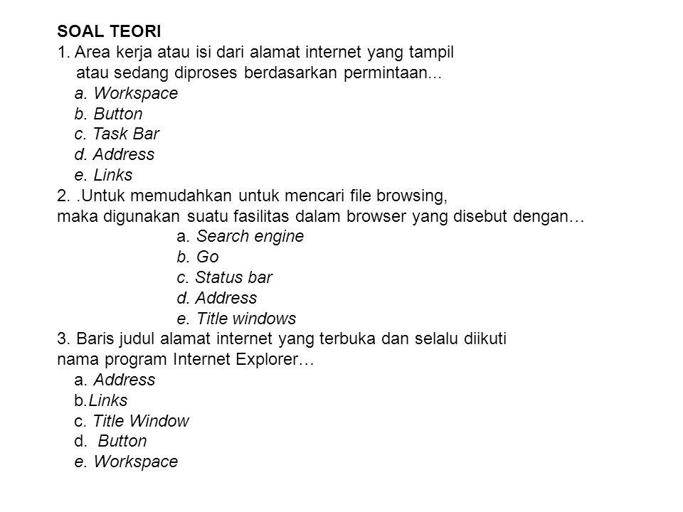 SOAL TEORI 1. Area kerja atau isi dari alamat internet yang tampil. atau sedang diproses berdasarkan permintaan...
