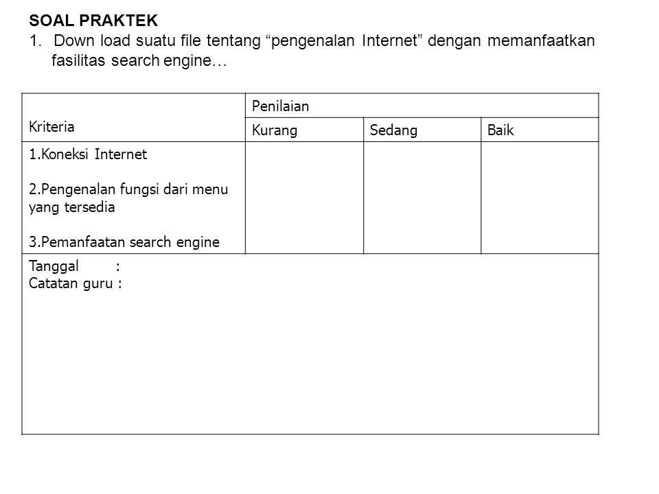 Down load suatu file tentang pengenalan Internet dengan memanfaatkan