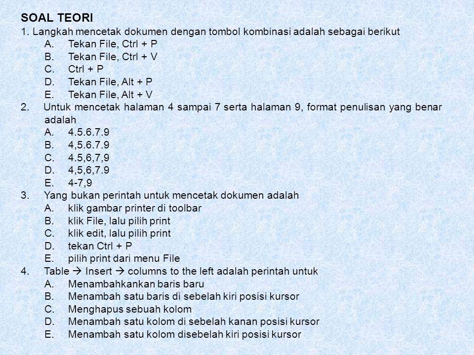 SOAL TEORI 1. Langkah mencetak dokumen dengan tombol kombinasi adalah sebagai berikut. Tekan File, Ctrl + P.