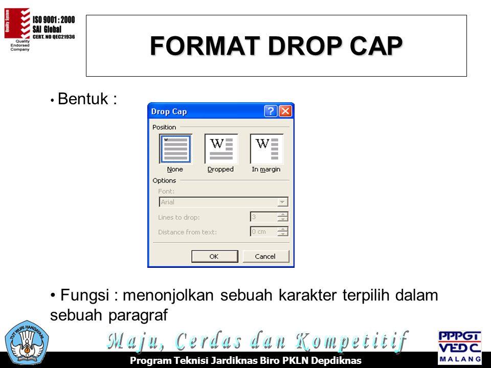 FORMAT DROP CAP Maju, Cerdas dan Kompetitif