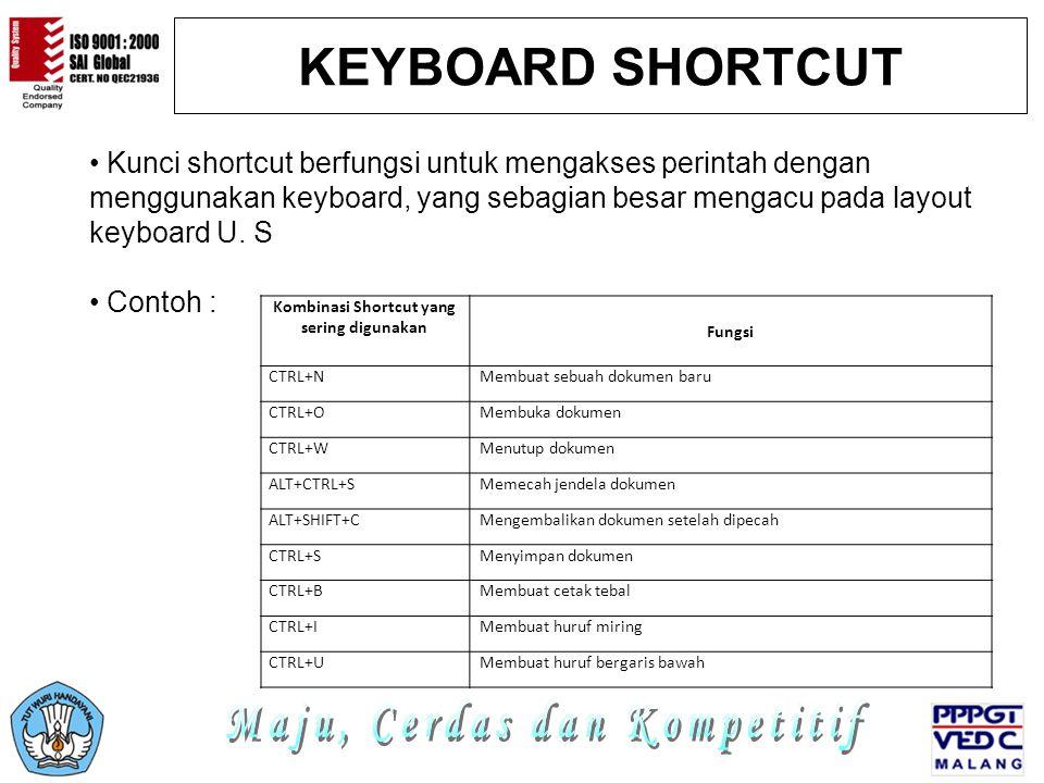 Kombinasi Shortcut yang sering digunakan