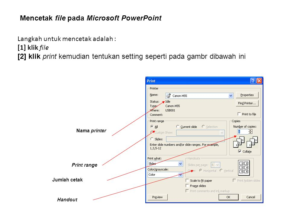 Mencetak file pada Microsoft PowerPoint