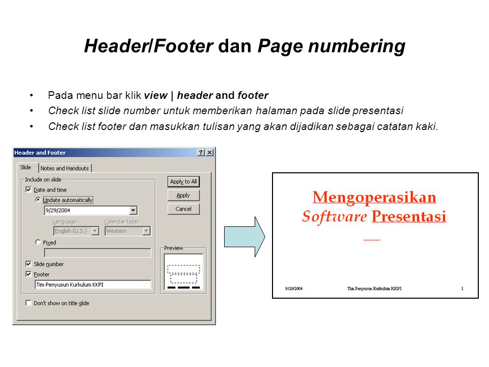Header/Footer dan Page numbering