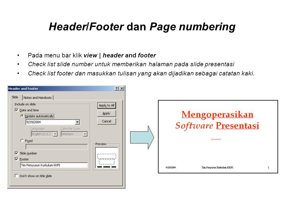 Header/Footer dan Page numbering