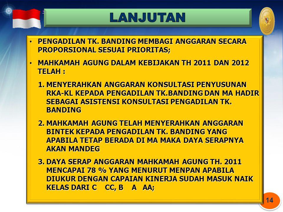 LANJUTAN PENGADILAN TK. BANDING MEMBAGI ANGGARAN SECARA PROPORSIONAL SESUAI PRIORITAS; MAHKAMAH AGUNG DALAM KEBIJAKAN TH 2011 DAN 2012 TELAH :