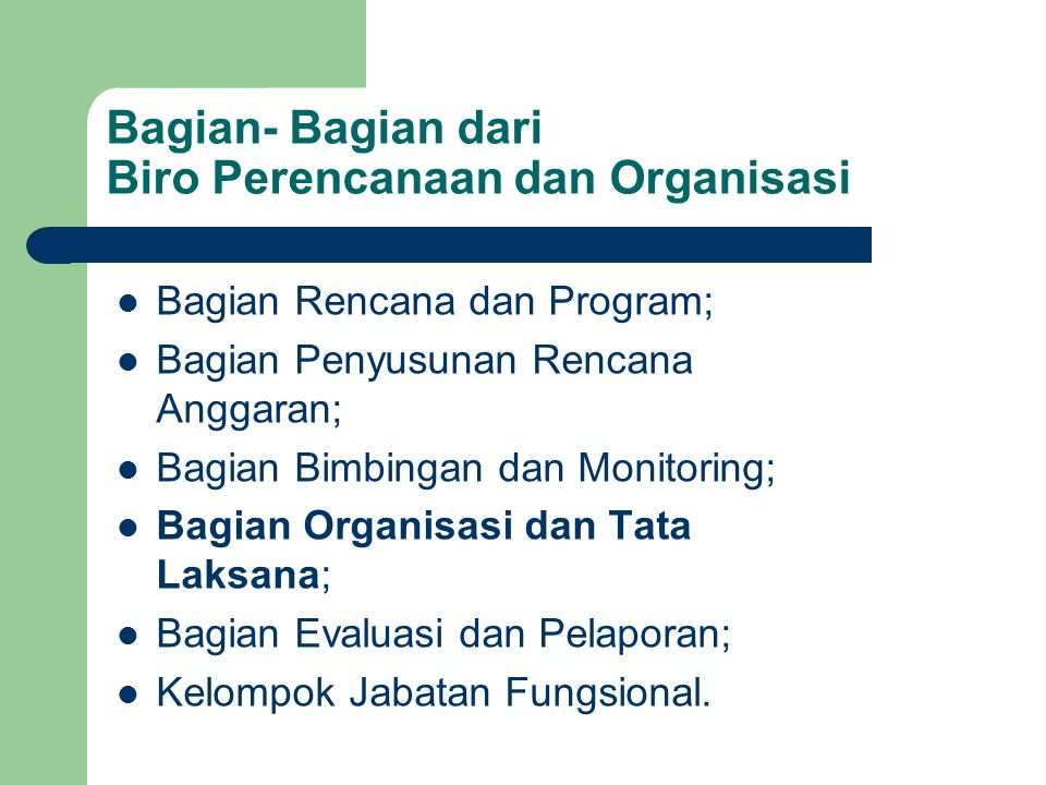 Bagian- Bagian dari Biro Perencanaan dan Organisasi