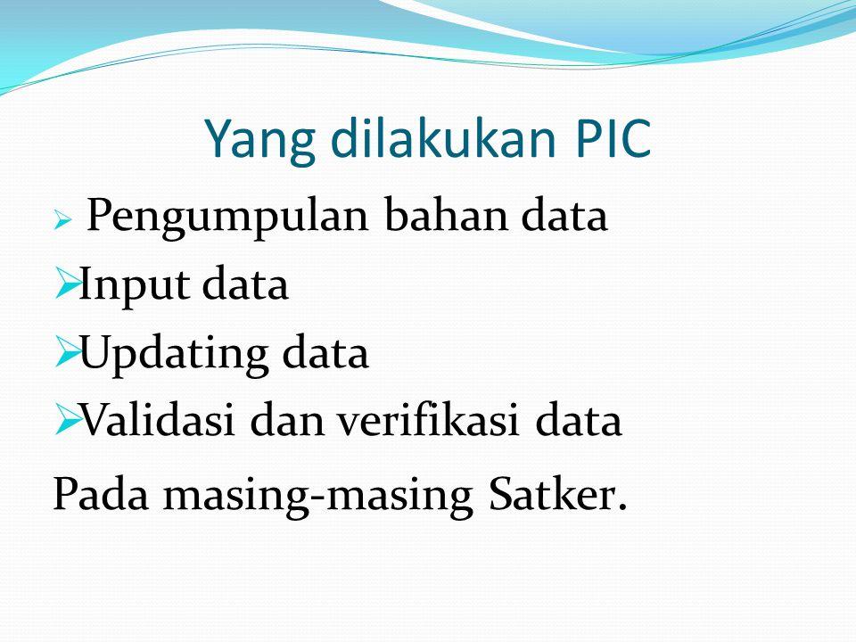 Yang dilakukan PIC Input data Updating data