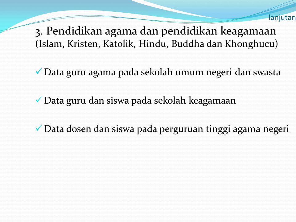 lanjutan 3. Pendidikan agama dan pendidikan keagamaan (Islam, Kristen, Katolik, Hindu, Buddha dan Khonghucu)