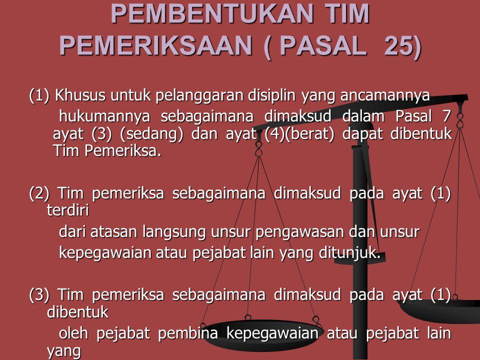 PEMBENTUKAN TIM PEMERIKSAAN ( PASAL 25)