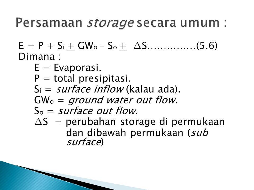 Persamaan storage secara umum :