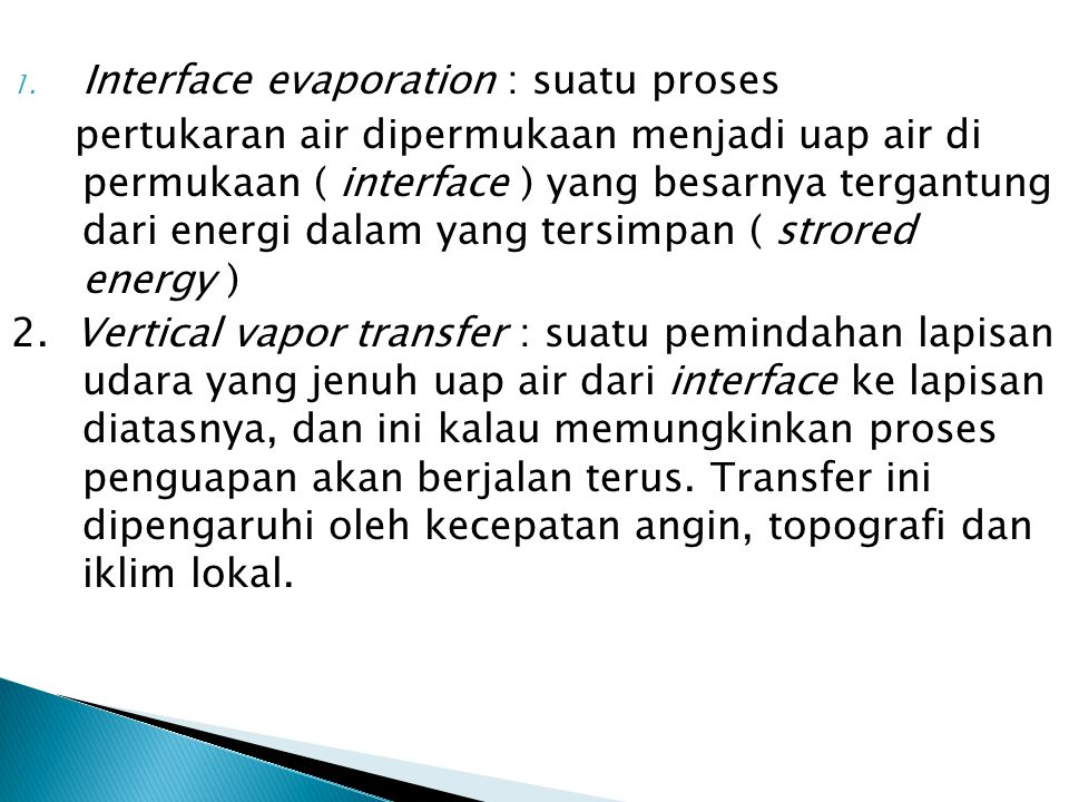 Interface evaporation : suatu proses