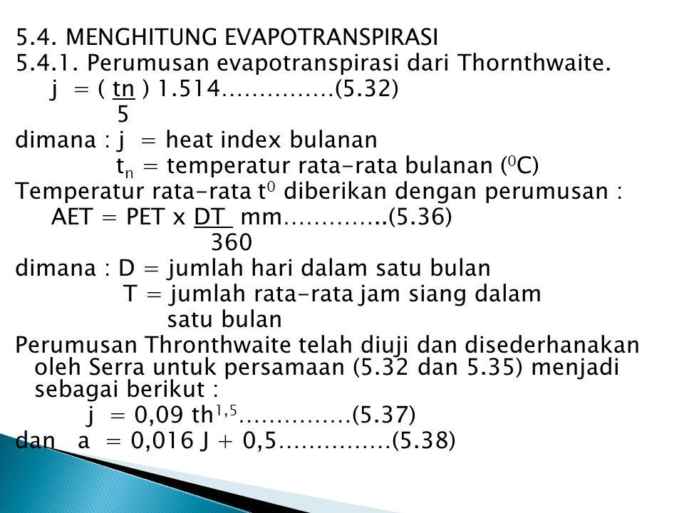 5. 4. MENGHITUNG EVAPOTRANSPIRASI 5. 4. 1