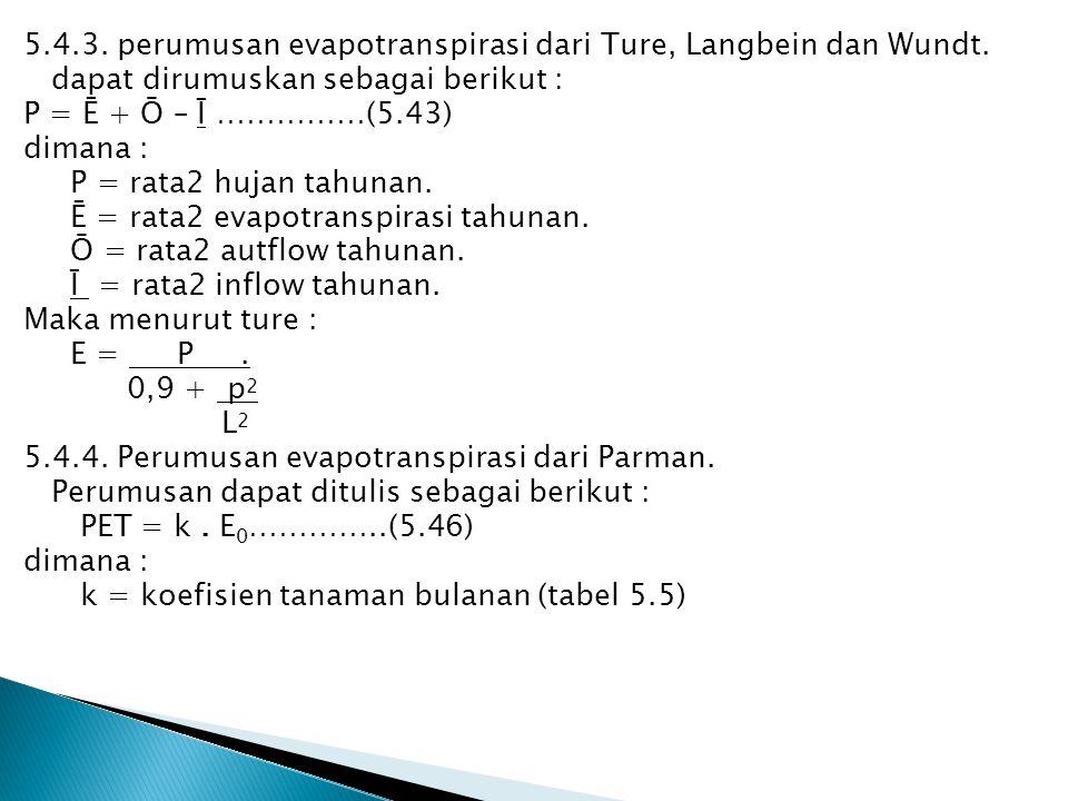 5. 4. 3. perumusan evapotranspirasi dari Ture, Langbein dan Wundt