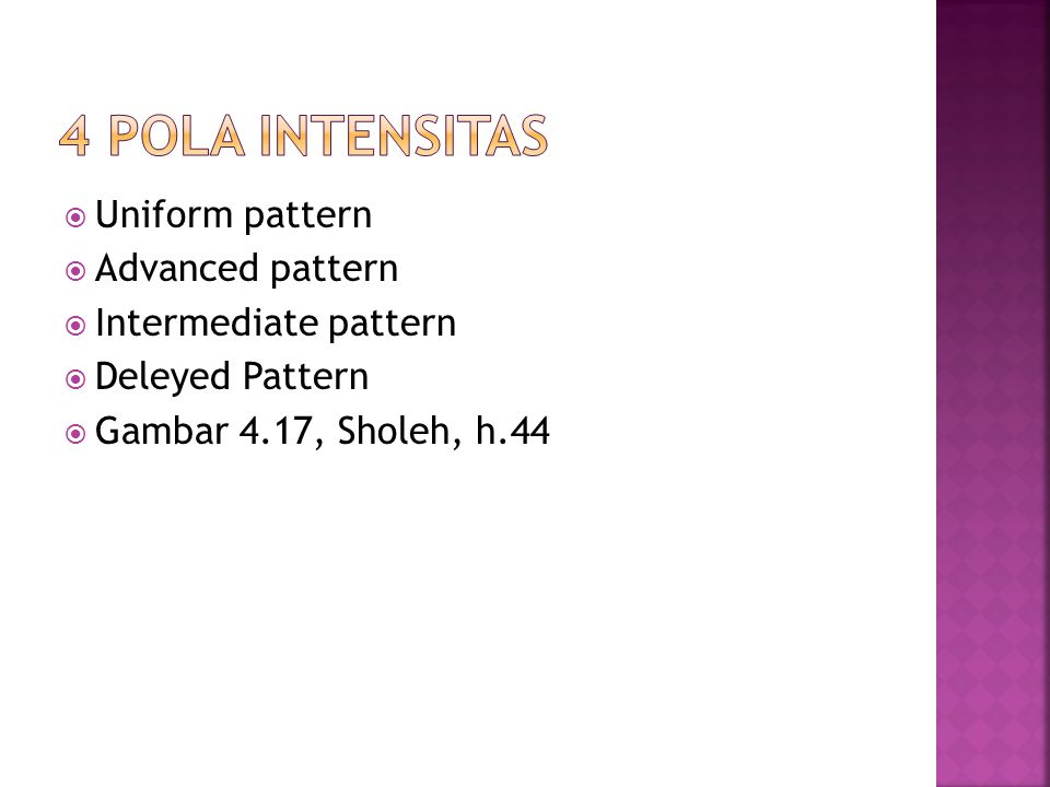 4 POLA INTENSITAS Uniform pattern Advanced pattern