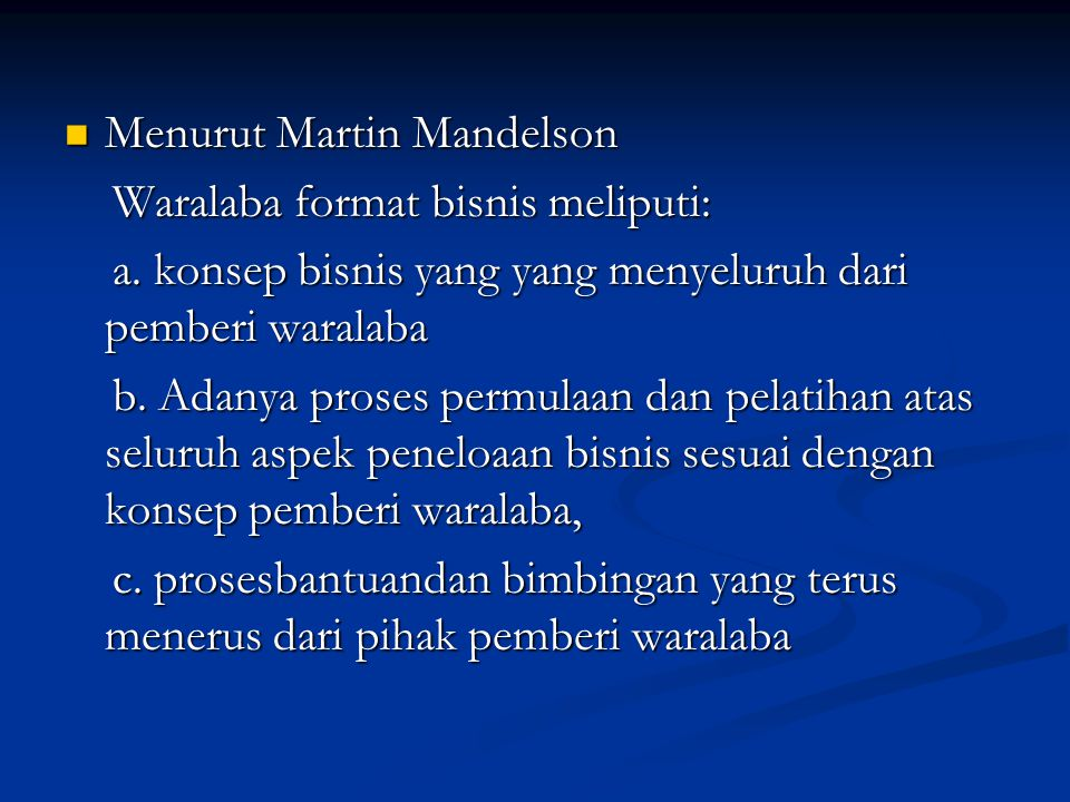 Menurut Martin Mandelson