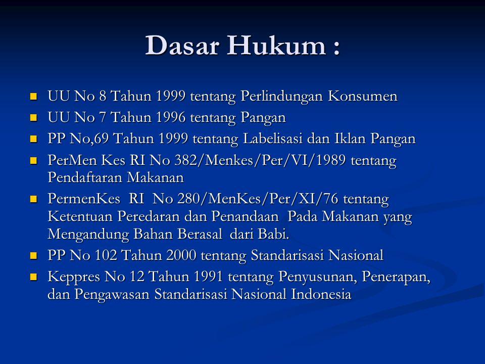 Dasar Hukum : UU No 8 Tahun 1999 tentang Perlindungan Konsumen