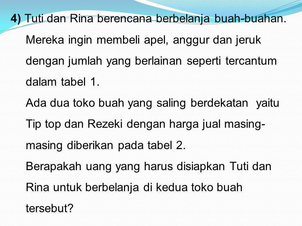 4) Tuti dan Rina berencana berbelanja buah-buahan
