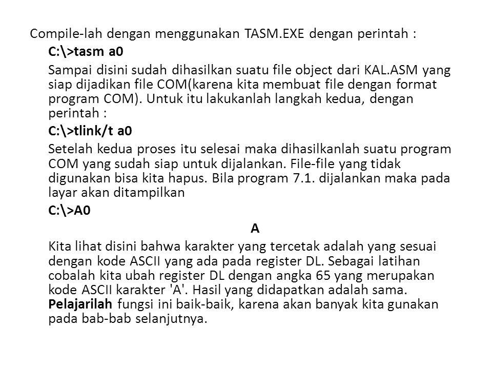 Compile-lah dengan menggunakan TASM.EXE dengan perintah :