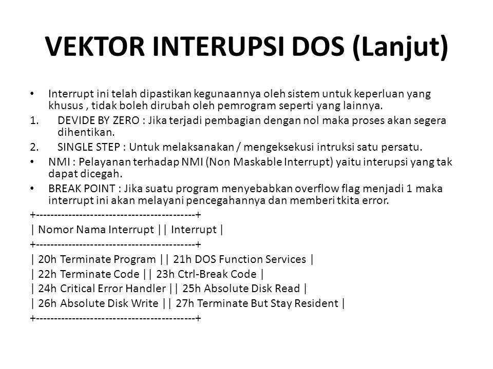 VEKTOR INTERUPSI DOS (Lanjut)