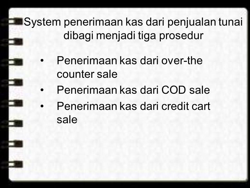 System penerimaan kas dari penjualan tunai dibagi menjadi tiga prosedur