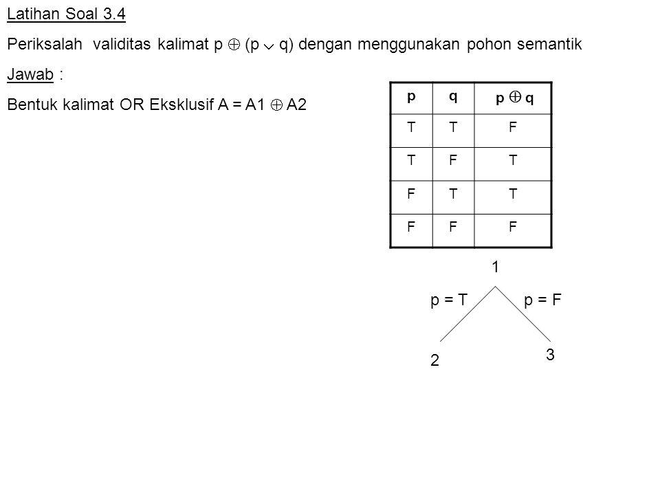 Bentuk kalimat OR Eksklusif A = A1  A2