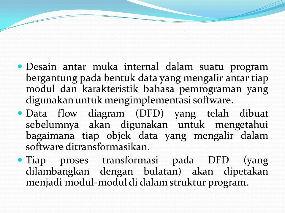 Desain antar muka internal dalam suatu program bergantung pada bentuk data yang mengalir antar tiap modul dan karakteristik bahasa pemrograman yang digunakan untuk mengimplementasi software.